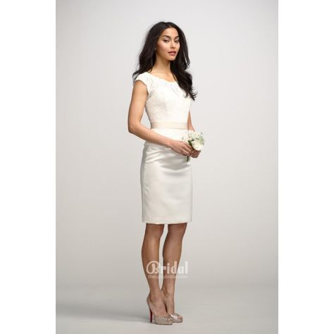 ca2f38613116 Elegant Ivory Boat Neck Lace Top Knee Length Bridesmaid Dress.  #Roundcollar, #Sleeveless, #Short, #Corset, #Bridesmaid, #White, #Dress,  Only $165.00