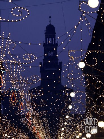 Silhouette of the Sforza Castle is Seen Through Christmas Decorations, in Milan, Italy @ at Art.com