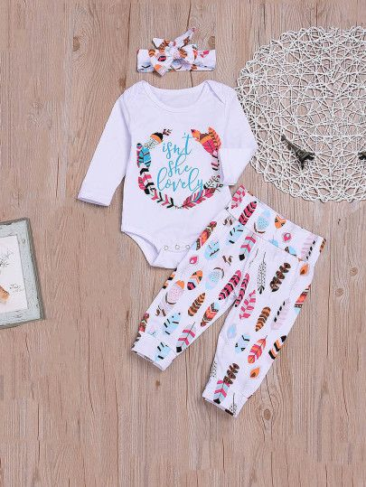 4dd28e2969fd9 Boys Feather Print Tee & Pants Set With Headband -SheIn(Sheinside ...
