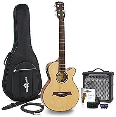 3 4 Single Cutaway Electro Acoustic Guitar 15w Amp Pack Amazon Co Uk Musical Instruments Electro Acoustic Guitar Guitar Acoustic