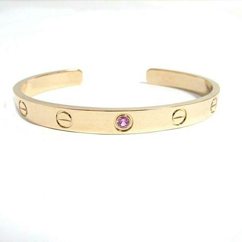 ffbcc3d2b63b1 eBay #Sponsored Auth Cartier Open Love Bracelet Pink Sapphire Bangle #17 18KPG  pink rose gold
