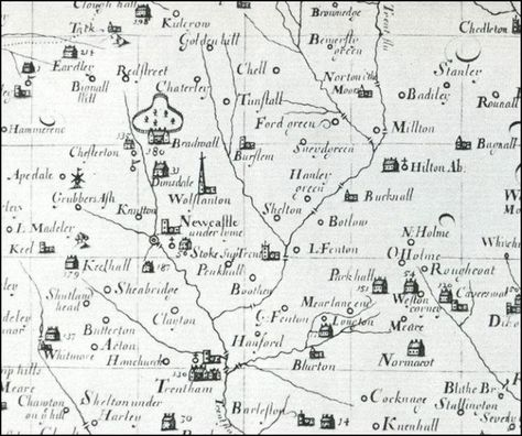 From Plots Map Of North Staffordshire C 1670 Bottle Kilns