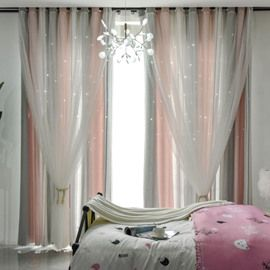 Pink And Grey Vertical Stripe Cloth And White Voile Sewing Together Blackout Curtains Beddinginn Com Curtains Blackout Curtains Vertical Stripe