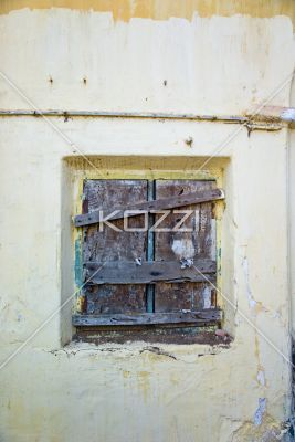 Boarded Up A Window Of An Old Home Is Nailed Shut In Ooty India