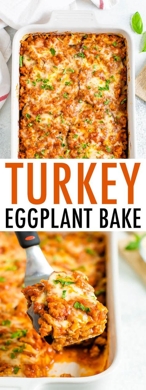 Comfort food made healthy, this eggplant turkey bake layers eggplant with protein-rich turkey and mozzarella. The best part? It bakes up in 30 minutes! #eggplantcasserole #groundturkey #eggplantrecipe #eatingbirdfood #30minutemeal