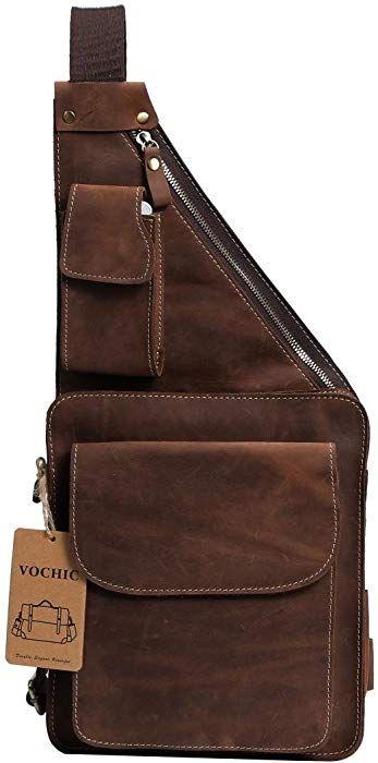 Mens Genuine Leather Chest Sling Packs Shoulder Cross Body Day Packs Satchel