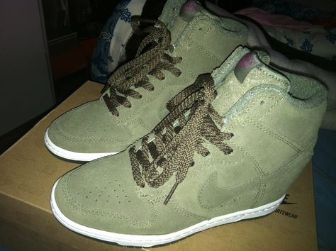 398460e8504 Women Nike Dunk Sky High ( Wedge Sneaker) Color  Olive Green.