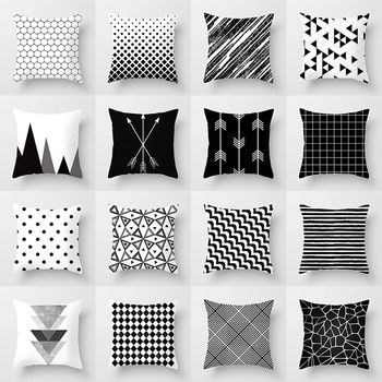 Duvet Cover Flat Bed Sheets Pillowcase Pu27 Black And White Cushions Geometric Cushions Black And White Sofa
