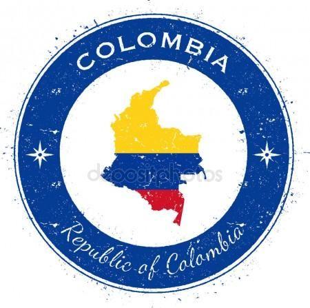 Colombia Insignia Patriotica Circular Sello De Grunge Con El Mapa De La Bandera Nacional Y La Colombia Vector De Bandera De Colombia Bandera Nacional Sellos