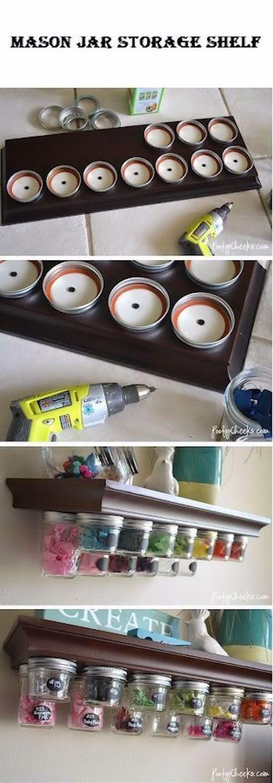 Mason Jar Storage Shelf diy craft crafts easy crafts diy ideas diy crafts crafty diy decor how to organizing tutorials mason jar crafts