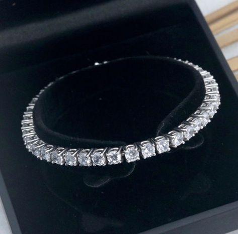 10 Ct Round Brilliant Cut VVS1//Diamond Tennis Bracelet 14K White Gold Over