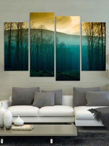 Sunset Forest Print Unframed Split Canvas Paintings Huge Wall Art Landscape Wall Painting Wall Art Painting