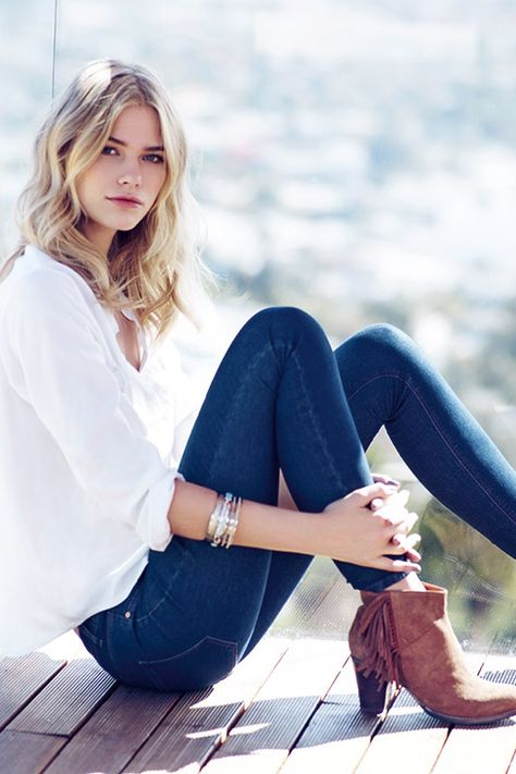 White shirt + blue jeans + suede boots = a timeless weekend look. #newlook #fashion