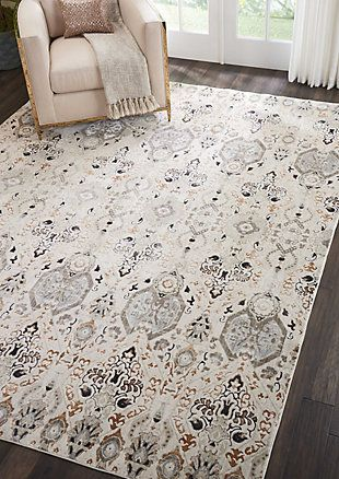 Nourison Homesilver Screen Gray And White 8 X10 Large Rug Ashley Furniture Homestore In 2021 Farmhouse Dining Room Rug Farmhouse Rugs Living Room Area Room Rugs