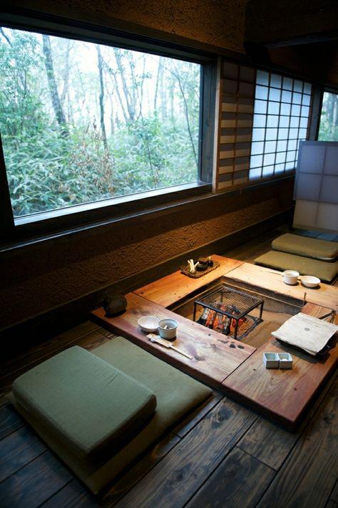 Sitzecke Im Japanischen Stil Einrichten Sitzkissen Am