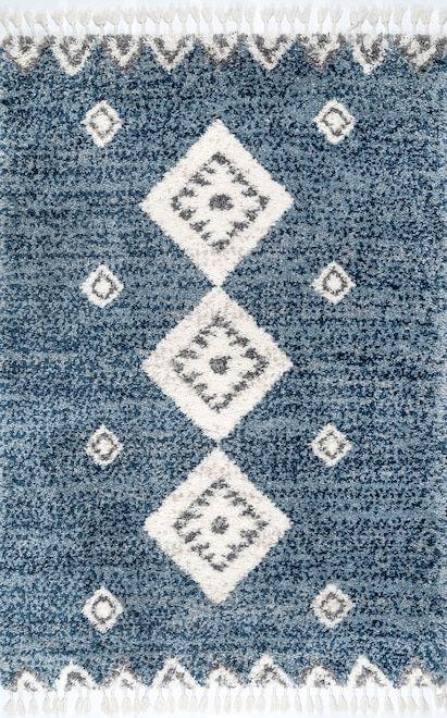 Kalin Diamond Totem Shag With Tassels Blue Rug Blue Rug Rugs Usa Shag Area Rug
