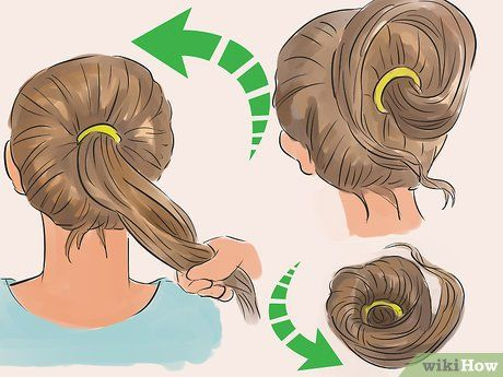 Image Titled Make A Messy Bun Step 5 Quick Messy Bun Perfect Messy Bun Messy Bun