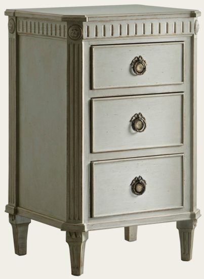 Gus047 Bedside Table With Fluted Carving Gustavian Bedside