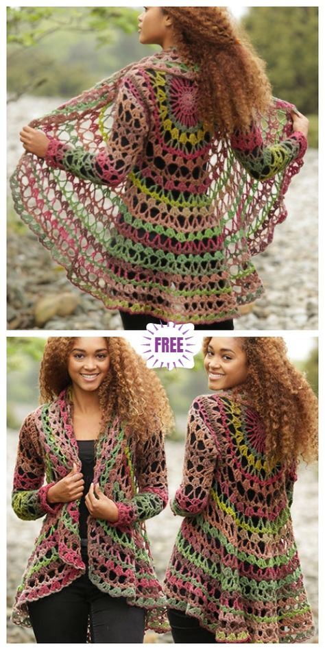 DIY Crochet Cardigan Sweater Free Patterns DIY Crochet Circle Cardigan Sweater Free Crochet Patterns Crochet Fall Festival Circular Cardigan Free Crochet Pattern The Effective Pictures We Offer You About knitting vs crocheting A Diy Crochet Cardigan, Crochet Cardigan Pattern, Sweater Knitting Patterns, Sweater Cardigan, Crochet Sweaters, Crochet Circle Vest, Fall Knitting, Crochet Circle Pattern, Crochet Shrugs