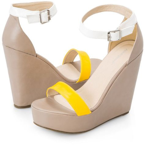 5d74e2ae5688 Ashley Stewart Colorblock Wide Width Wedge Sandal ( 13) ❤ liked on Polyvore  featuring shoes