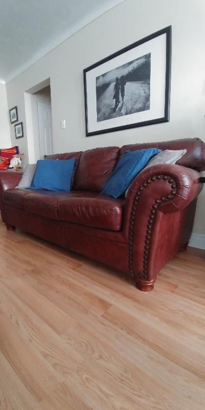 Genuine Leather Couch Set Loveseat And