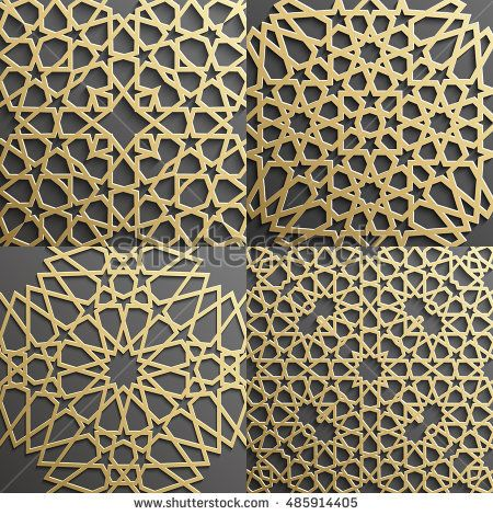 Arabic Pattern Background Islamic Gold Ornament Vector Arabic