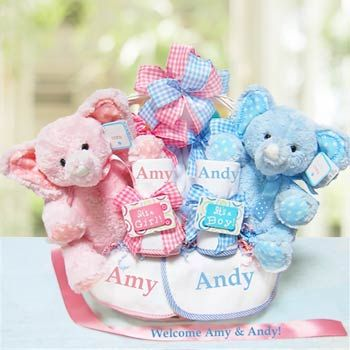 personalized twins gift basket