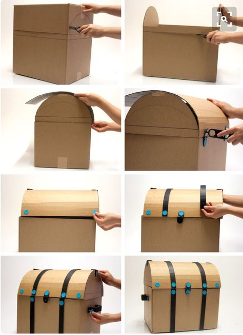 Make your own pirate treasure chest for a pirate party. Make your own pirate treasure chest for a pirate party. Cardboard Furniture, Cardboard Crafts, Paper Crafts, Cardboard Boxes, Cardboard Box Ideas For Kids, Cardboard Playhouse, Deco Pirate, Pirate Theme, Diy For Kids