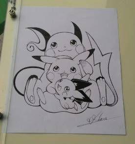 Pikachu Raichu E Pichu Pokemon Desenho Producao De Arte Desenhos