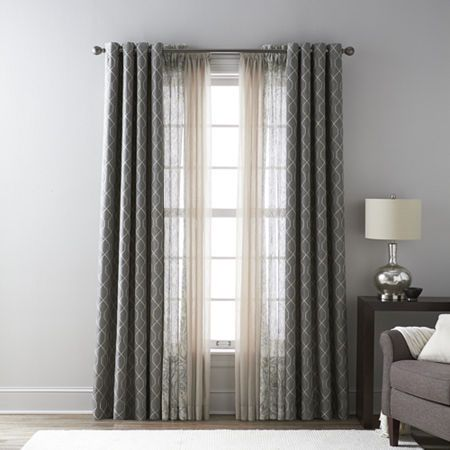 Jcpenney Home Pasadena Embroidery Blackout Grommet Top Curtain