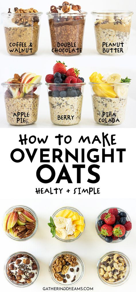 Breakfast meal prep just got easier with this combination of 6 easy delicious and healthy overnight oat recipes Perfect for your on-the-go breakfast these fail-proof recipes won t disappoint overnightoats healthybreakfast breakfastideas breakfastmealprep Oats Recipes, Smoothie Recipes, Meal Prep Recipes, Dinner Recipes, Easy Overnight Oats, Healthy Snacks, Healthy Breakfasts, Healthy Oat Recipes, Easy Healthy Meal Prep
