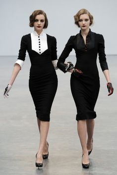 L'Wren Scott Fall 2009 Runway Show Chic Professional Woman Work Outfit. Bridesmaids in Black and White