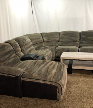 Secondhand 6 Piece Grey And Black Corduroy U Shaped Reclining