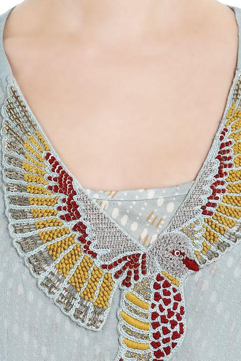 Buy Blue chiffon bird embroidered cape by Roshni Chopra at Aza Fashions