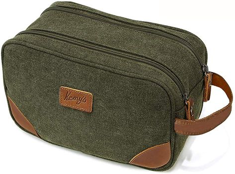 8f676d02d871 Amazon.com  Kemy s Camo Mens Bathroom Travel Bag Grooming Shaving Toiletry  Bags for Men Dopp Kits Vintage Canvas Leather Dob Kit Toiletry Hygiene Bag  Double ...