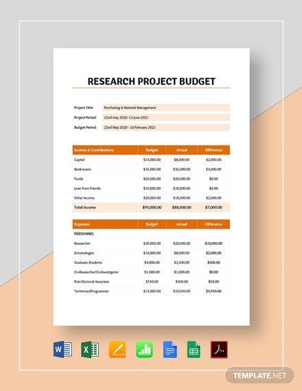 Research Project Budget Template In 2020 Research Projects Budgeting Budget Template