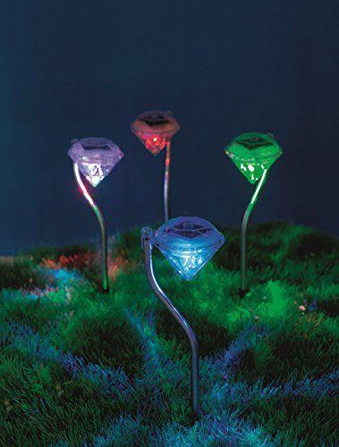 Easymaxx Solar Leuchte Diamant Edelstahl Set 1 2v Garten Deko Kabellos Spot Strahler Led Farb Solarleuchten Garten Solarlampen Garten Beleuchtung Garten