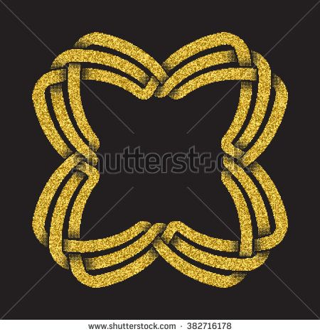 Golden glittering #logo template in Celtic knots style on black background. #Symbol in square frame form. Gold ornament for jewelry design.