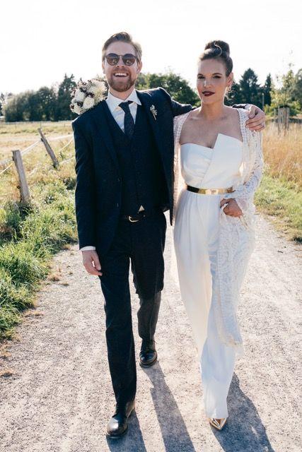 Asymmetrischer Bustier Overall Winter Hochzeits Outfits Hosenanzug Braut Hochzeitsanzuge Fur Frauen