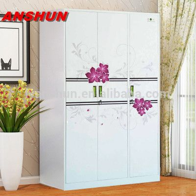 Source New Model Customized Bedroom Wardrobe Design White And Flower Printing Kd Structure Godrej Steel Almirah Almirah Designs Steel Cupboard Cupboard Design