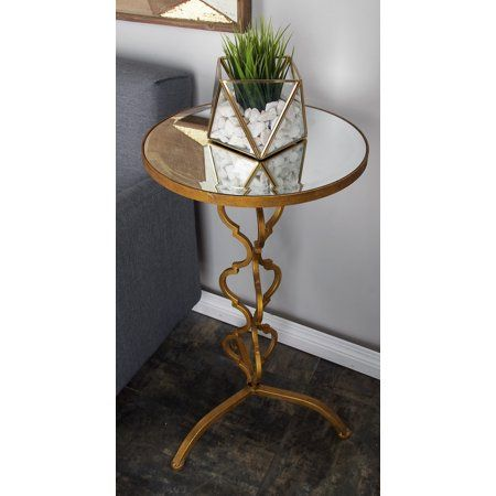 Decmode 30 X 16 Gold Metal Glam Accent Table Walmart Com Iron Accent Table End Tables Mirrored Accent Table 30 inch end table
