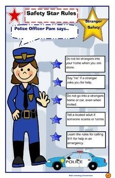 Police Officer Pam gives rules and tips for stranger safety. Post this in your classroom as a reminder for students.  Use this poster when covering stranger safety rules and practices with students.Check out other stranger safety activities!Stranger Safety Activity Bundle Love the clip art?