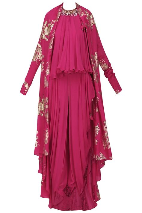 5d819c4f27 Jamun pink gold foil printed jacket with embroidered halter top and cowl dhoti  pants available only