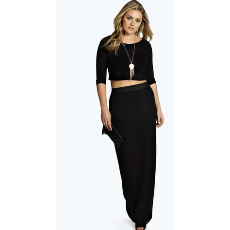 42aa7a0e1e7 Boohoo Plus Gracie Contrast Waistband Jersey Maxi Skirt ($20) ❤ liked on  Polyvore featuring skirts, maxi skirt, long black jersey skirt, long skirts,  ...