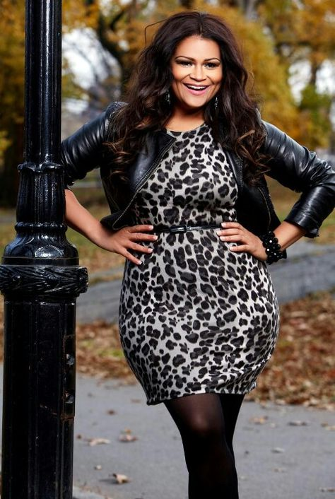 Leopard dress with leather jacket