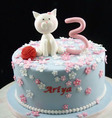 Astounding Whimsical Birthday Cake For Girl Cat Themed Birthday Cake Funny Birthday Cards Online Ioscodamsfinfo