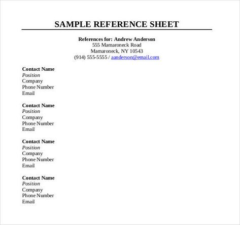 10 Reference Sheet Templates With Images Reference Page For