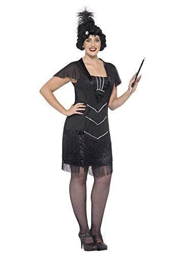 Smiffys black flapper 20/'s 1920/'s Great Gatsby costume fancy dress adult womens