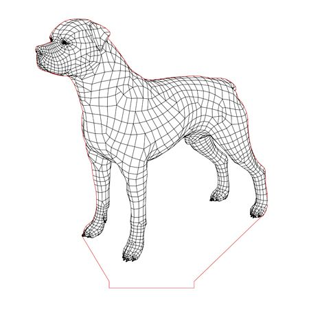 Rottwailer Dog 3d Illusion Lamp Plan Vector File For Laser And Cnc 3bee Studio 3d Illusions 3d Illusion Lamp Illusions