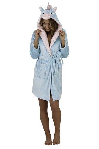 Ladies Aqua /& Pink Soft Fleece Unicorn Hood Short Bath Robe//Dressing Gown